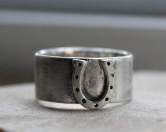 Wide Equestrian Horseshoe Ring