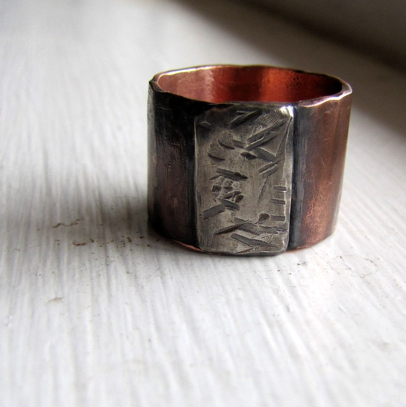 Mens ring of rustic copper and sterling image 0