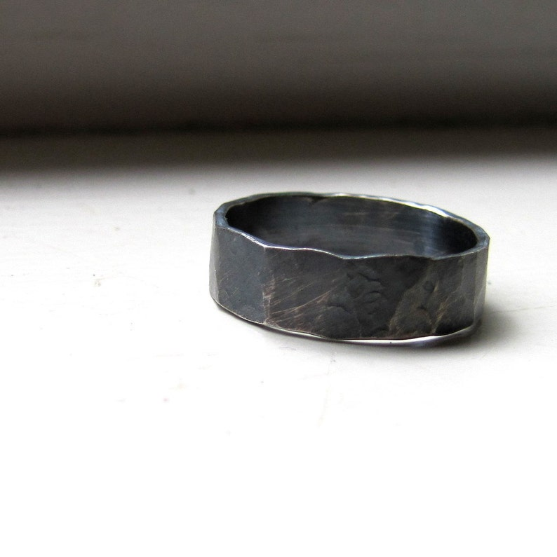 Mens Oxidized Wedding Band image 0