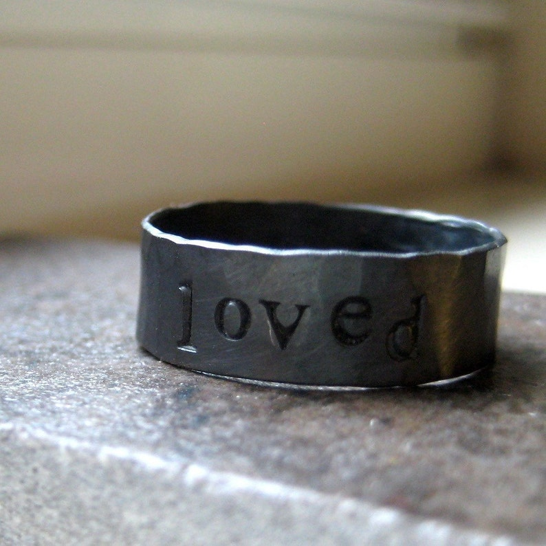 Sterling Silver Rustic Mens Ring Personalized image 0