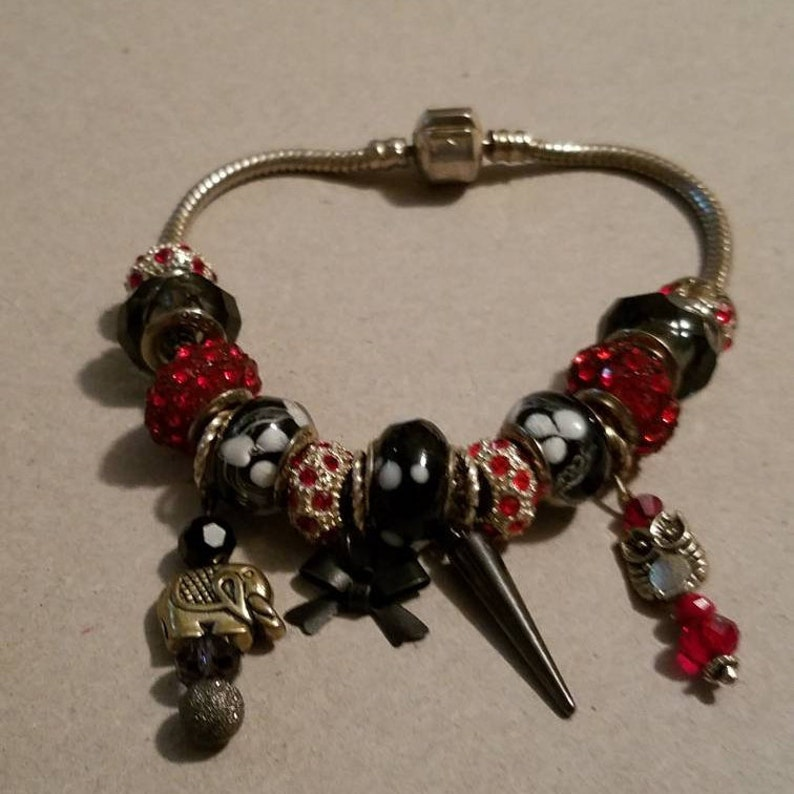 3ba2c7917 Faux Pandora Charm Bracelet 925 14 charms 4 Dangles Red Black | Etsy