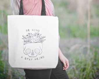 Be Kind & Stay Weird Skull with Flowers heavy canvas tote bag