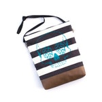 Striped Hops Skull slouchy bag with faux leather - craft beer purse