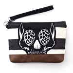 Skull with Hops for Eyes Wristlet with removable strap - punk rock - grey