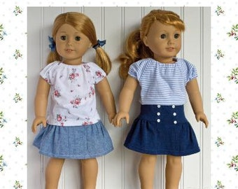 """18 inch doll clothes sewing pattern Ava Skirt and Top 18"""" doll clothing Sewing Pattern  PDF instant download"""