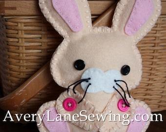 AveryLane Hand Sewing Project Felt Bunny Stuffie PDF Pattern