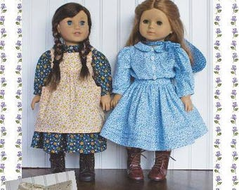 """18 inch doll Clothes Sewing Pattern Laura Dress Pattern 18"""" doll Paper clothing pattern LHOTP Kristin Addy"""