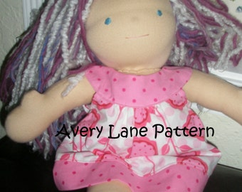 doll clothes sewing pattern Amanda Dress and Top Pattern plus leggings Avery Lane Designs 18 and 15 inch size doll PDF Pattern