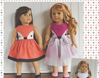 """18"""" Doll clothes pattern Fiona Fox Doll Dress sewing Pattern  Avery Lane Designs 18 inch size doll PDF"""
