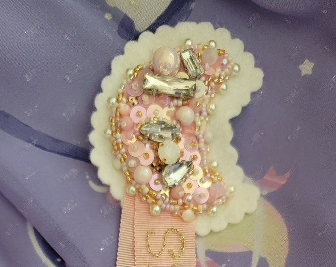 Sweet Lolita Magical Moon Embroidered Brooch - S'endormir