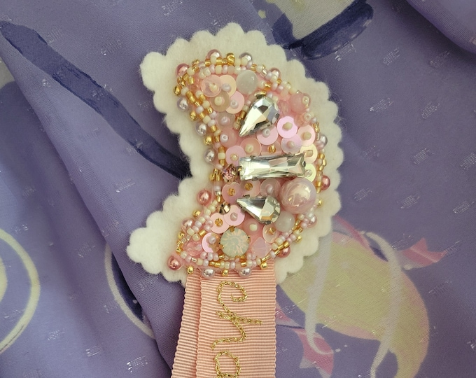 Sweet Lolita J-Fashion Magical Moon Embroidered Brooch - S'endormir