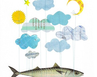 The Truth Behind Flying Fish - Art PRINT - Whimsical Art, Children's Room Decor