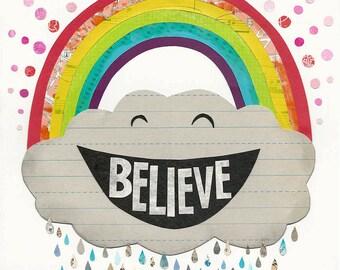 Believe - ART PRINT - Inspirational Art, Nursery Decor