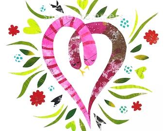 Snake Love - ART PRINT - Inspirational Art, Nature Lover, Garden Art, Sweet Anniversary Gift