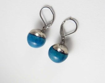 Ceramic earrings, turquoise bowls with platine.