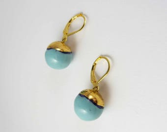 Ceramic earrings, turquoise bowls with gold hat.