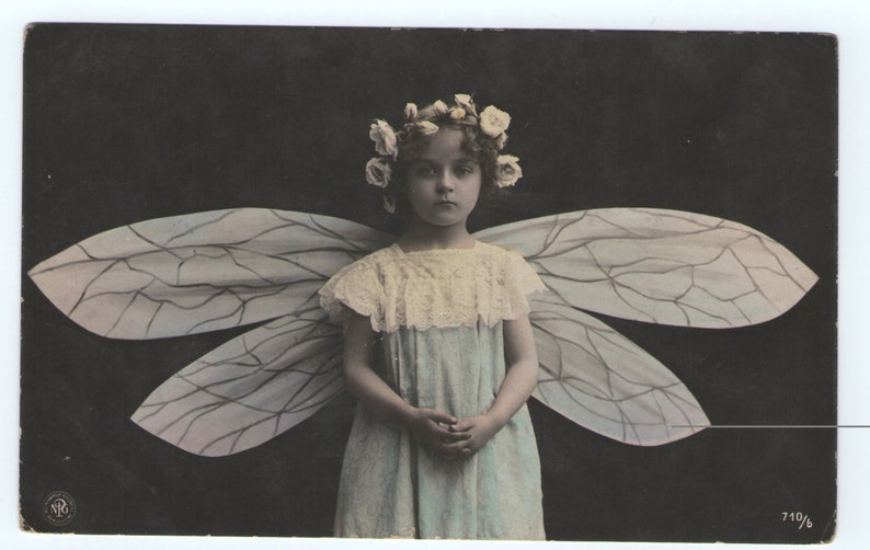 Fairy girl with wings single vintage image image 1