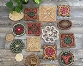 bohemian farmhouse trivet wicker wall basket art decor