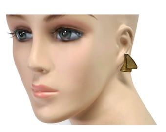 vintage faux gold-plated fan earrings