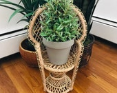 vintage wicker peacock chair plant stand 12 quot tall