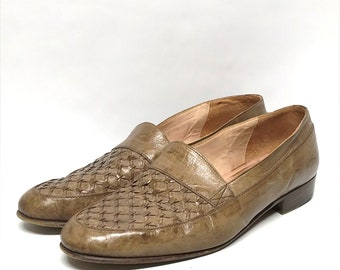 5bfedbd6300 80s hipster mens woven varese italian leather loafers dress shoes