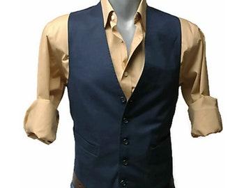 80's navy blue mens wool waistcoat vest