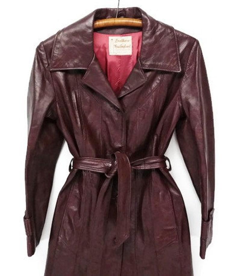 70s merlot red belted leather dress vintage trench coat jacket