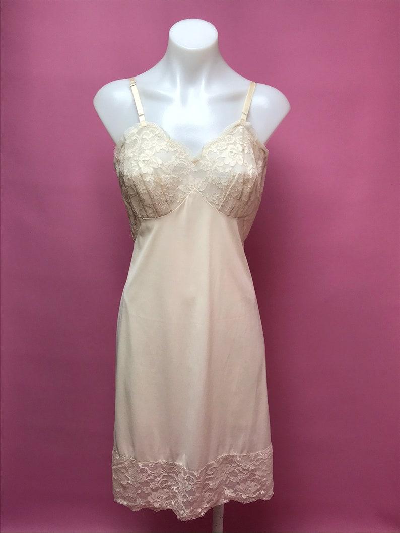 60s peach hue lace nylon lingerie slip dress