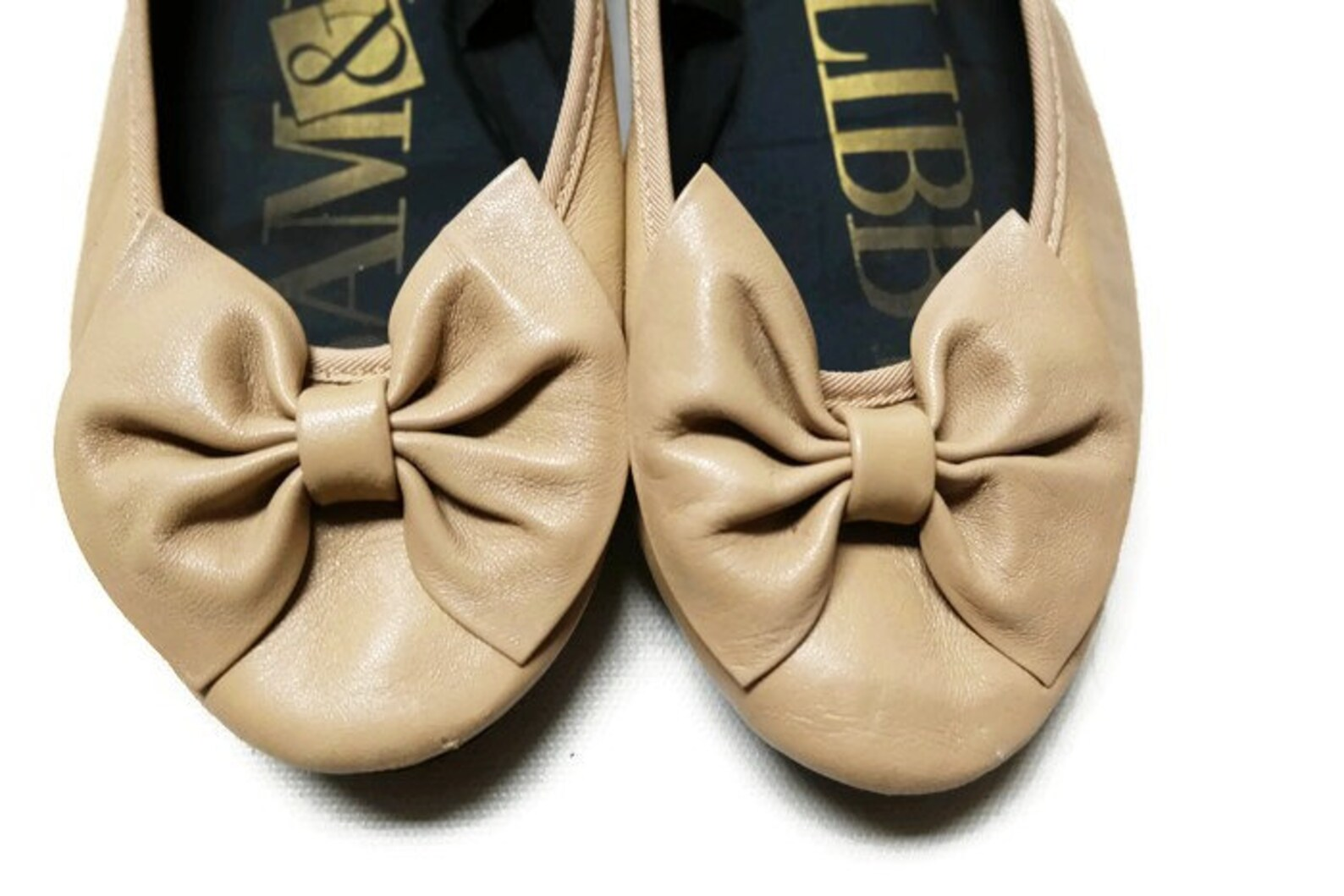 80s sam libby beige leather ballet bowtie flats shoes