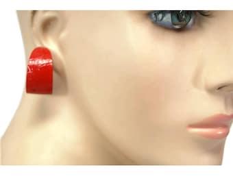 vintage siren red enamel hoop earrings