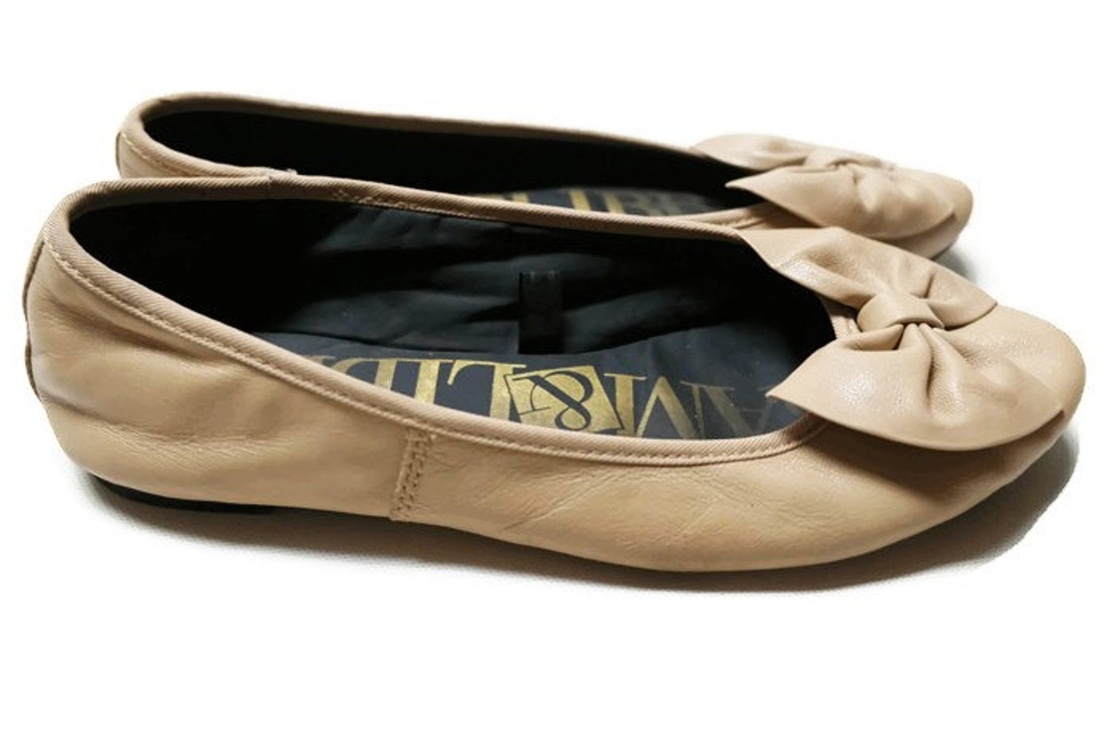 80s sam libby beige leather ballet bowtie flats shoes