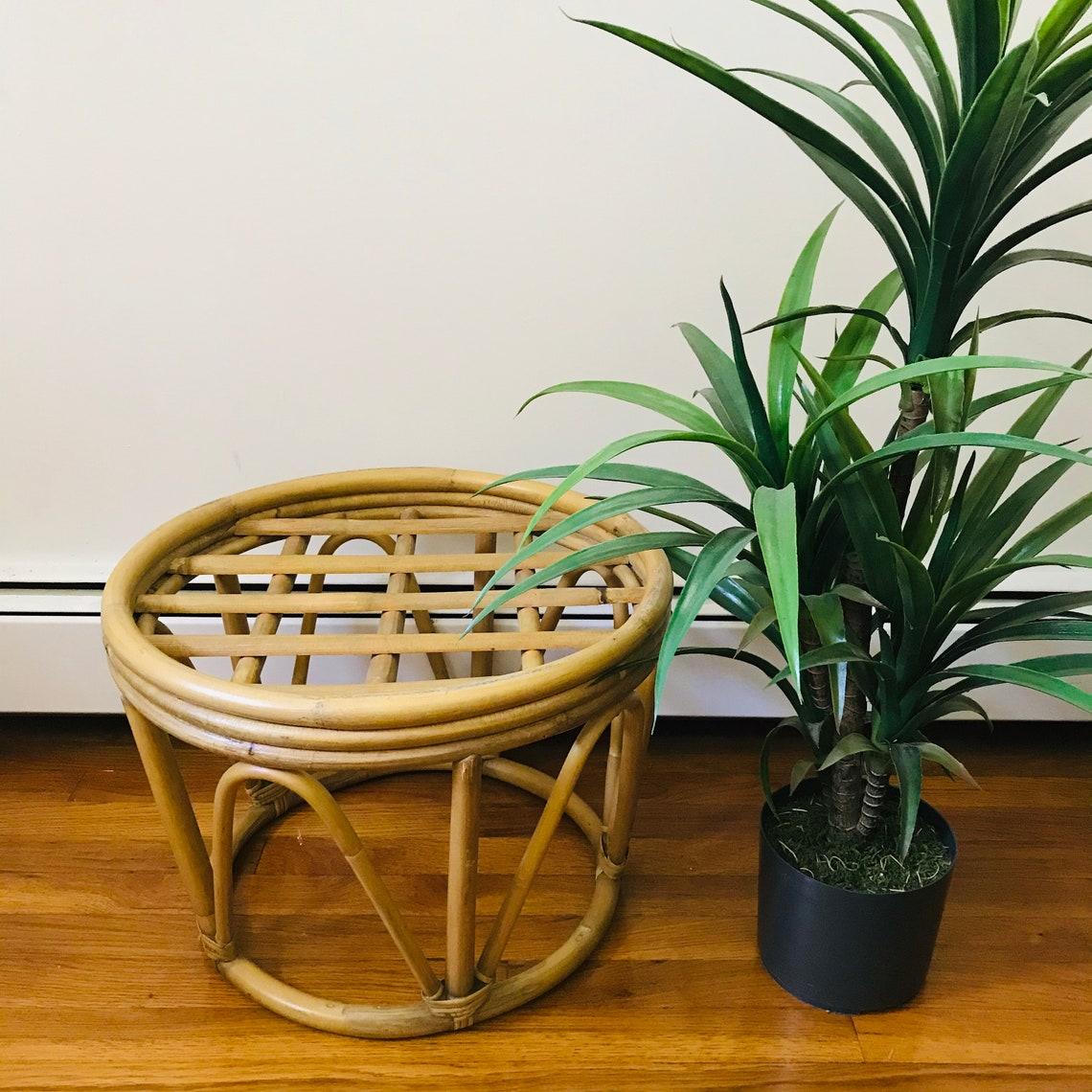 vintage rattan ottoman side table plant stand