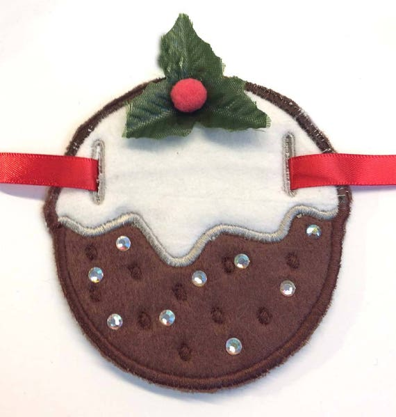 FELT Christmas Puddings x4 Card Topper//Embellishment