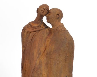 2 Clay Figures A Sacred Promise Ceramic Sculpture Gallery Art Rustic Organic rusted surface
