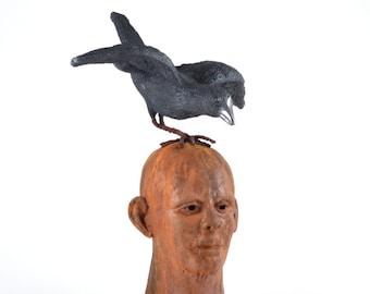 Companions Ceramic Face Sculpture Bust Black Crow Raven