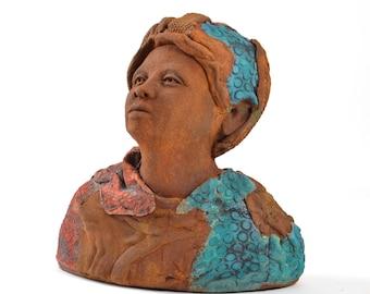 Minty Ceramic Sculpture Tribute to Harriet Tubman Ceramic Bust