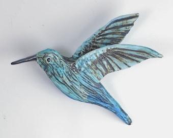 Humming bird wall decor Sculpture Pastel Blues