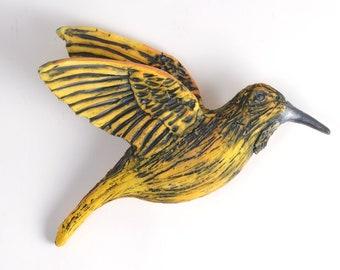 Humming bird wall decor Sculpture Home decor Yellow bird of Joy and Happiness