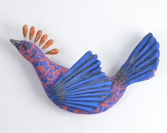 Bird of Paradise Ceramic Wall Sculpture Multi Color