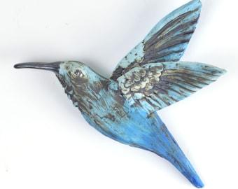 Humming bird wall decor Sculpture Home decor Blue bird of Joy and Happiness