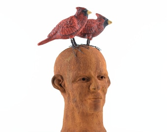 Ceramic Face Sculpture Bust Two Red Cardinals Brothers