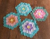 Vintage Quilt Squares Vintage Hand Pieced Quilt Circles Primitive Farmhouse Decor Quilted pillow top Handmade Quilting supplies Set of 4