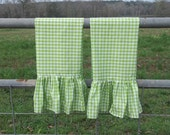 Green and White Kitchen Towels - Ruffled Tea Towels - Buffalo Plaid  Green Check Gingham Towels - Set of 2 - Handmade by misshettie
