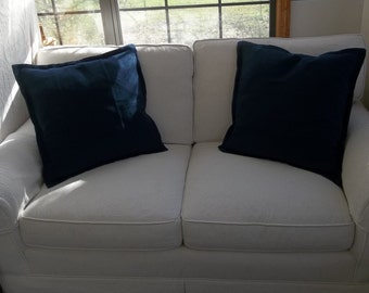 Pair Tailored Linen Pillows Custom Pillow Shams Washed Linen Decorative Pillows French Country Cottage Style