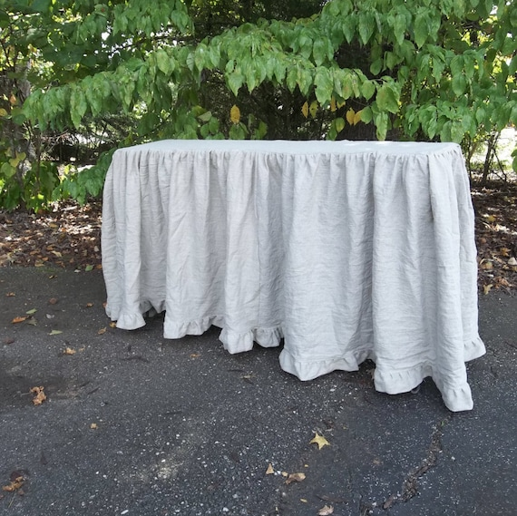 Floor Length Ruffled Linen Tablecloth, What Size Of Tablecloth Do I Need