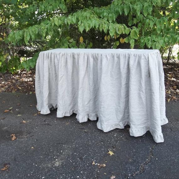 Floor Length Ruffled Linen Tablecloth Custom Sizes Wedding Etsy