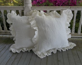Custom Ruffled Pillow Shams Ruffled Linen Pillows Custom Sizes Fabrics Washed Linen Pillow Covers Decorative Pillows Sold Separately