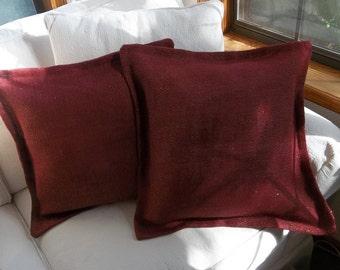 Pair Burgundy Burlap Pillows Christmas Throw Pillows 2 Metallic Burgundy Pillows Handmade Decorative Pillows French Country