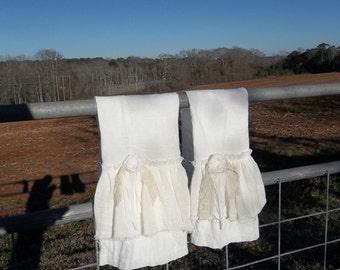 Double Ruffled Linen Towel Shabby Tea Towels Cottage Chic Hand Towel French Country Handmade Bath Décor Torn Ruffle Tea Towel More Available