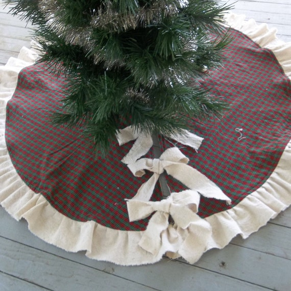 Vintage Shabby Rustic Chic Handmade Ruffled Christmas Tree Skirt 5/' diameter